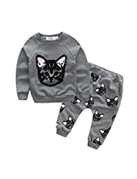 Winhurn Baby Kids Lovely Black Cats Pattern Long Sleeve Top + Pants Clothes Set