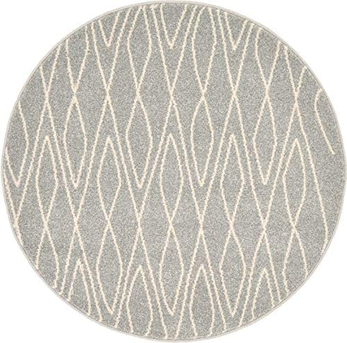Unique Loom Fez Collection Moroccan Tribal Gray Round Rug 3 3 x 3 3