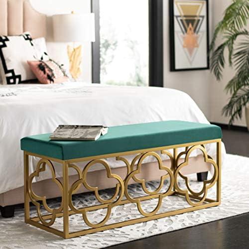 Safavieh Home Fleur 45-inch Glam Emerald Green Velvet and Gold Rectangle Bench