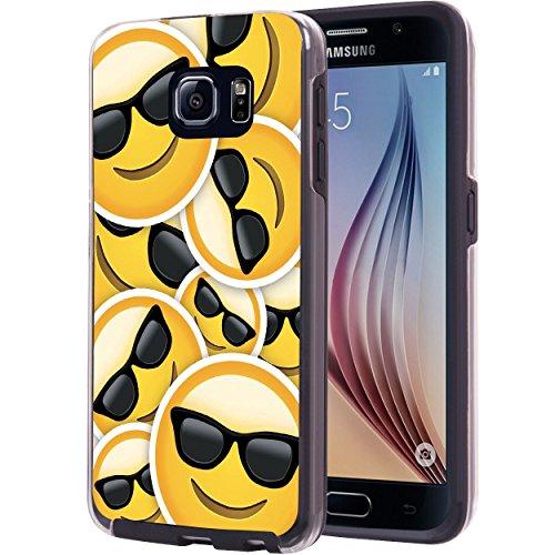 Samsung Galaxy S6 Case, True Color Emoji Face Cool Sunglasses Printed on Hybrid Dual Layer Cover Hard +Soft Slim Durable Protective TPU Bumper [Multi - Mens Trend Sunglasses 2017