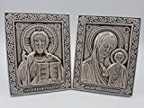 Russian Icon Jesus Christ Mother of God of Kazan Handmade Grey