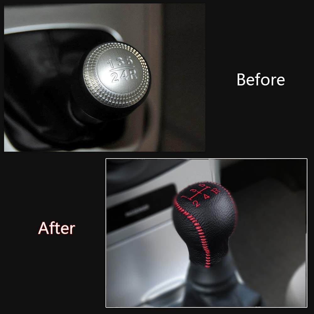 Non-slip Leather Gear Knob Stick Covers AT for IX35 2010-2015 Automatic Shifter Red /& Black Type M