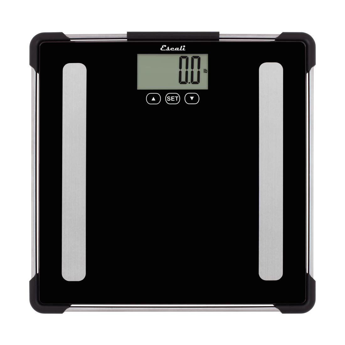 Escali BF180 Advanced Bioelectrical Impedance Analysis (BIA) Technology Calculates Weight, Body Fat, Body Water, Muscle Mass and Bone Density, LCD Digital Display, 400lb Capacity, Black