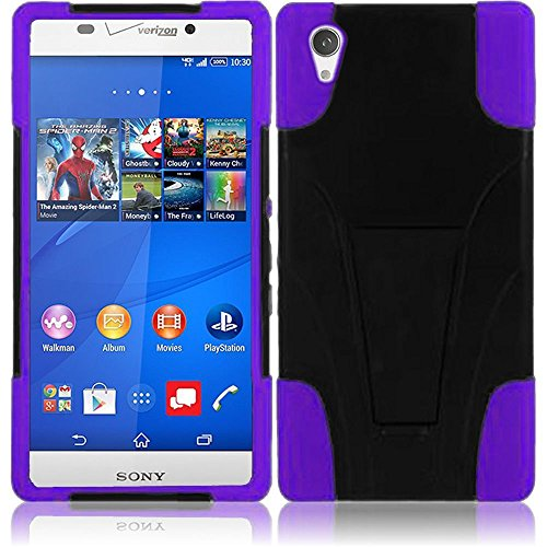 Sony Phone Faceplates (LF 3 in 1 Bundle - Hybrid Dual Layer Case with Stand, Stylus Pen & Screen Wiper for (Verizon) Sony Xperia Z3v, (Stand Purple))