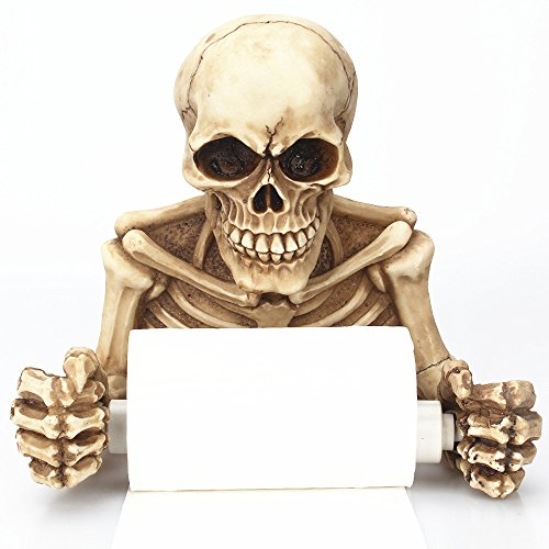 Xinhuamei Wall-Mounted Retro Practical Skeleton Paper Towel Holder- Skull Roll Holder, Ghost Festival Bathroom Storage Artifact