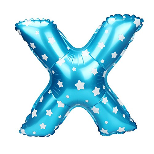 - BB67 16 Inch Letters Wave Point Foil Balloons Party Ballon Blue Birthday Anniversary Celebration Wedding Party Holiday Home Household Supplies Decoration Gift