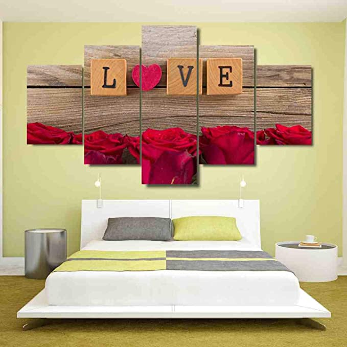 GIAOGE 5 Piezas Lienzo Pintura Cuadros Amor en Scrabble corazón Rosas Rojas decoración de la habitación impresión Cartel Enmarcado Arte de la Pared: Amazon.es: Hogar
