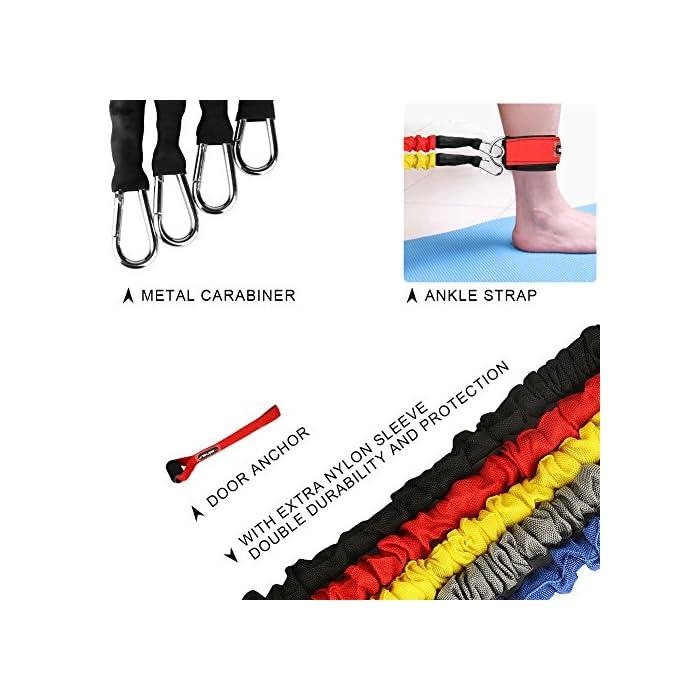 51S3Hss2oCL ✔✔5 Niveles de Resistencia -- Se trata de un set de bandas elásticas de resistencia, las cuerdas están fabricadas en látex natural, de 5 colores y con ganchos en los extremos de metal de alta resistencia. Cada una una tiene una intensidad diferente: Rojo (20 libras), Gris (25 libras), Azul (30 libras), Amarillo (35 libras), Negro (40 libras). ✔✔Accesorio Ideal -- Viene con 5 bandas de diferentes tensiones, 2 ancla para la puerta, 2 correas de tobillo ajustables, 2 asas o empuñaduras de espuma, 1 bolsa de color negro para su transporte o almacenamiento. Puede ser transportado fácilmente para usar en cualquier lugar y en cualquier momento. Un kit muy completo y económico. ✔✔Fácil de Usar & Más Seguro -- Se hace ejercicio seguro y cómodo. Son fáciles de manejar, pudiéndolo enganchar en cualquier puerta, armario, columna, etc. Son fantasticas para tonificar los músculos, reducir grasa, ejercicio de mantenimiento, y realizar otro tipo de ejercicios, destinado a trapecio, hombros o dorsales. Por favor click este link: https://youtu.be/Z8crojsKfJ4, este video para decirle cómo usar este conjunto de cuerdas elásticas para realizar los ejercicios. Set de cuerdas elásticas para fitness