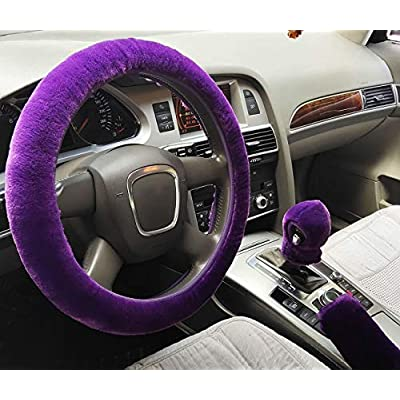 ixiton 3Pcs/Set Fashion Faux Wool Fur Furry Steering Wheel Cover,Short Hair Soft Fluffy Handbrake Cover,Gear Shift Cover,Universal Thickening Fuzzy Warm Non-Slip Auto Interior (Automatic,Purple): Automotive