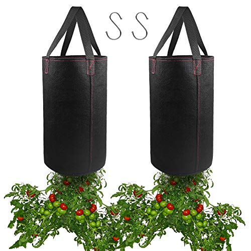 - 2 Pack Hanging Planter for Tomato, Upside Down Grow Bags, Fabric Plant Pots for Growing Tomato with Hooks Included
