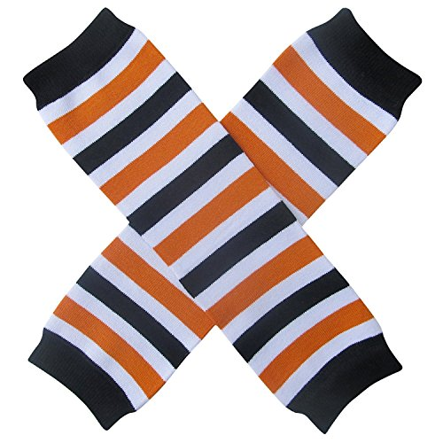 Halloween Costume Spooky Styles Holiday Leg Warmers - One Size - Baby, Toddler, Girl (Halloween Stripe - Orange Black White)