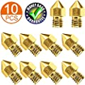 Cr-10 Nozzle, Upgrade Wear Resistant MK8 Nozzles, Brass 3D Extruder Nozzle for 3D Printer Makerbot Creality CR-10