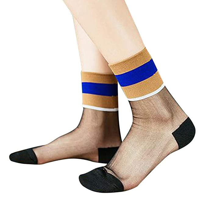 OPAKY Calcetines de Mujer de Moda Retro Medias de Cristal Transparentes Ultrafinas Calcetines Modernos Originales y Deportivos para que el pie Respire La ...
