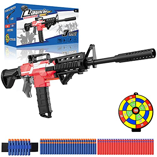 Electric Toy gun for Nerf Guns Bullet, M416 Blaster with 12 Dart-Clip 100 Foam Refill Bullet, 3 Modes & USB Rechargeable Boy Toy, Fortnite Birthday/Xmas Gift for Kids Teenager Adult