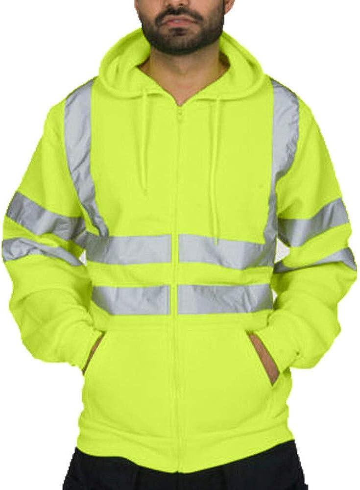 reflektierendes Band Sicherheitsjacke Arbeitskleidung mit Reisverschluss Arbeits-Sweatshirt /Übergr/ö/ße Warnjacke Warnschutzjacke Arbeitsjacke Strungten Kapuzen-Sweatshirt mit hoher Sichtbarkeit