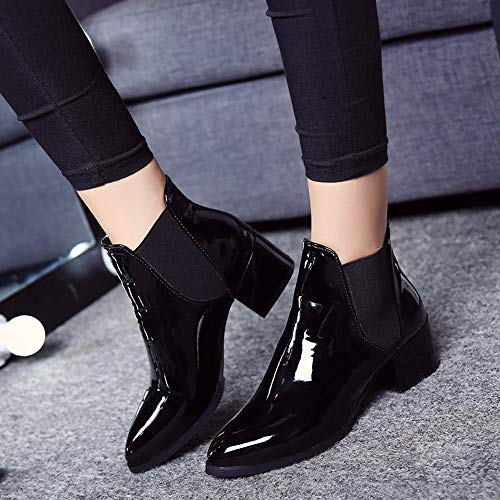 Elasticated Martin Round Leather Size PU UK Black head Boots Women Waterproof 5 Heel Fashion Patent Boots Low Transer Black W7c4XtCq4