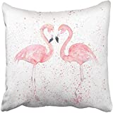 Starogs Throw Pillow Covers Print Pink Abstract Watercolor Flamingos with Splash Painting Animal Aquarelle Beach Bird Colored Couple Polyester 18 X 18 Inch Square Hidden Zipper Decorative Pillowcase