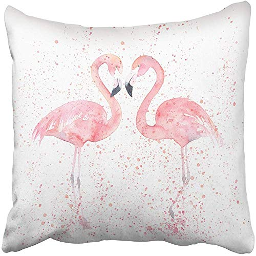 Starogs Throw Pillow Covers Print Pink Abstract Watercolor Flamingos with Splash Painting Animal Aquarelle Beach Bird Colored Couple Polyester 18 X 18 Inch Square Hidden Zipper Decorative Pillowcase by Starogs