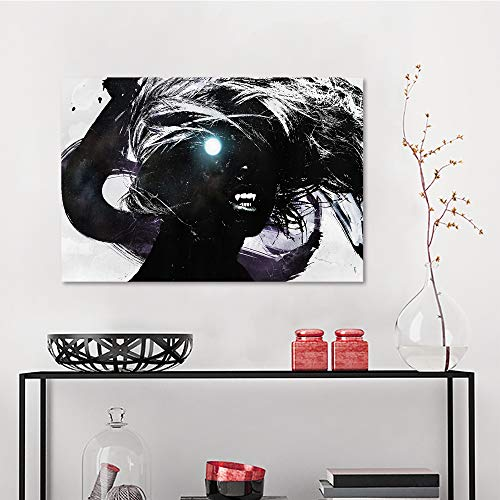 Allbrit Wall Decal, Dark Artwork Fantasy Artistic Original Horror Evil Creepy Scary Spooky Halloween, Modern Art W23.6 x L31.5 Inch