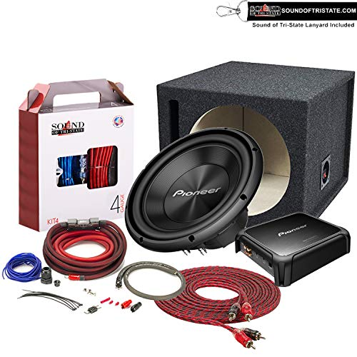 """Pioneer 12"""" TS-A300D4 1500 Watt Max Subwoofer + GM-DX871 Mono Amplifier + 12"""" Enclosure + Sound of Tri-State 4Ga Wire kit Package"""