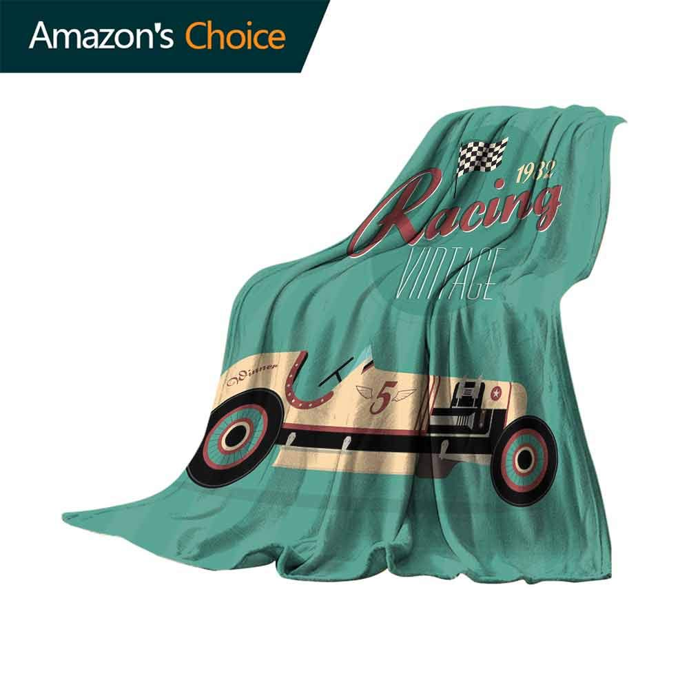 vanfan-home Cars Flannel Fleece Blanket,Poster Print of a Classic Vintage Automobile Nostalgia Rally Antique Machine 300GSM Luxury Microfiber Blanket for Couch(62''x60'')-Teal Ruby Cream