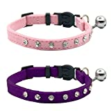 Cat Breakaway Collar Medium Large Cat Adjustable Puppy Collar Pink Purple Velvet Necklace-Safety Bing Crystal Rhinestone Pet Collar Set with Bell for Kitten 2pcs Pack