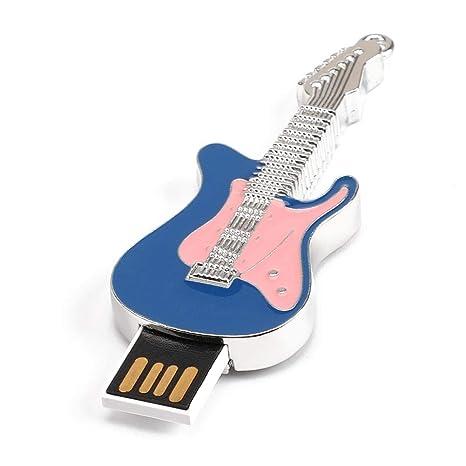 RLFS USB2.0 Flash Drive Memory Stick Metal Guitarra eléctrica 16G Pen Drive (Azul