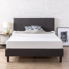 This beautiful grey upholstered platform bed by Zinus features a geometric paneled headboard with a low profile footboard style frame, and wood slats and exposed feet for support. It ships in one carton with the frame, legs and wooden slats c...
