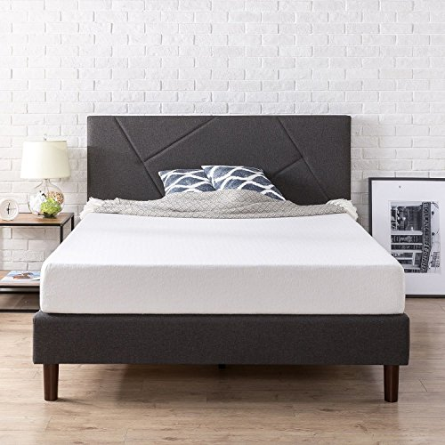 (Zinus Upholstered Geometric Paneled Platform Bed / Mattress Foundation / Easy Assembly / Strong Wood Slat Support, Queen)