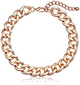 """Large Chain Link Rose Gold-Tone Collar Necklace, 17"""" + 3"""" Extender"""