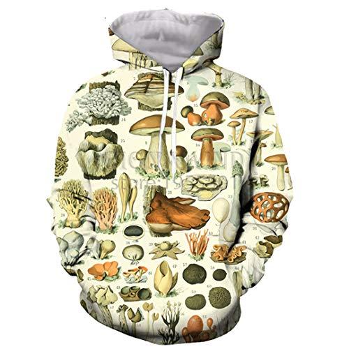 (DILLFOREN Popular Mushroom Collage Hoodies Unisex 3D Print Most Streetwear 1 XL)