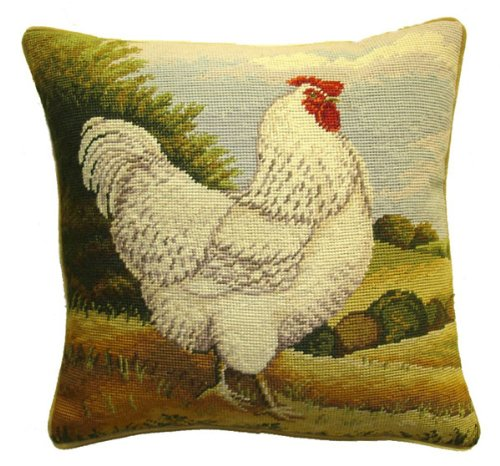 Deluxe Pillows White Chicken - 17 x 17 in. needlepoint pillow (Needlepoint Chicken)