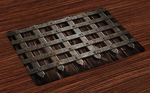 Lunarable Medieval Place Mats Set of 4, Medieval Wooden Castle Wall and Gate Greek Style Mid-Century Designed Artwork Print, Washable Fabric Placemats for Dining Room Kitchen Table Decoration, Grey]()