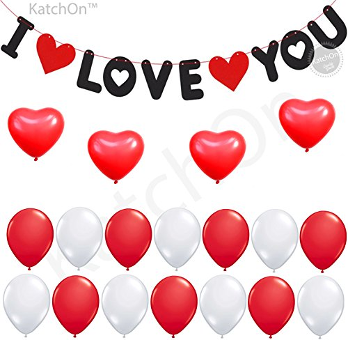 I LOVE YOU Banner and Balloons Sets - Valentine Banner - Valentine Day Decorations - Room Decorations - Wedding, Bridal (I Miss You Balloons)