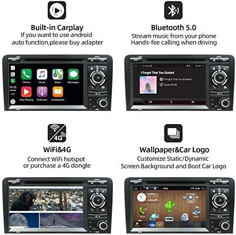 YUNTX Android 9.0 ダブルディン カーステレオ Audi A3 (2003-2011) - 7インチ 2G/32G カーナビゲーションラジオ リアカメラ&カンバス付き | ステアリングホイールコントロール | Bluetooth | Mirrorlink