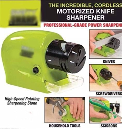 ZooArts® Electric Motorized Knife Sharpener for Power Sharpening Including Catch-tray for Meatal Shavings