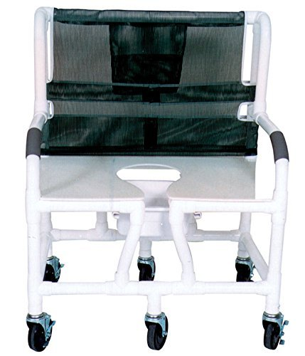 MJM International 130-5-DDA-NC Bariatric Shower Chair with Full Support Commode Opening Seat, No Commode Pail with Drop Arms, 700 oz Capacity, 45'' Height x 34'' Width x 29'' Depth, Royal Blue/Forest Green/Mauve