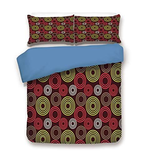 (Duvet Cover Set Queen Size, Decorative 3 Piece Bedding Set with 2 Pillow Shams,Colorful Funky Vortex Stripes Simplistic Spring Kids Tones Design)