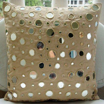 Handmade Beige Pillows Cover, Mirror Throw Pillows Cover, Pi
