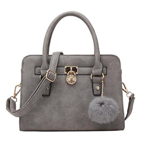 Leather Quality Pompom Women Gray Shoulder Handbags Purse Ball High Yuan Large Bag Tote Capacity Pendants R5Antq