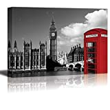 wall26 Black and White Photograph with Pop of Color on a Red Telephone Booth in London - Canvas Art Home Decor - 24x36 inches