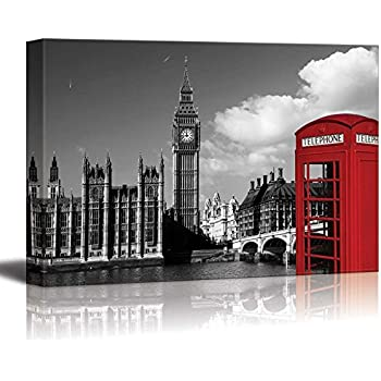 Wall26 black and white photograph with pop of color on a red telephone booth in london canvas art home decor 24x36 inches