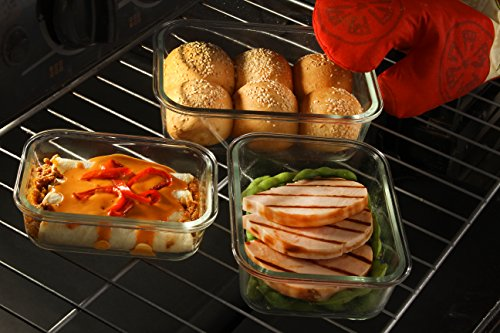 Glass Meal Prep Containers - 20 Mix Piece Set, Borosilicate Glass, High Heat Resistance (750 °F), BPA Free, 100% Leak Proof - Microwave, Freezer, Oven & Dishwasher Safe - Glass 10+10 Set, by Popit!