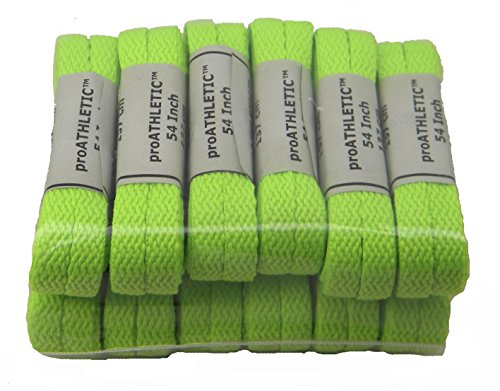 12 Pair proATHLETIC(tm) 8mm CHUCKS style FLAT Shoelaces TEAMLACES(tm) Support Cancer Awareness! (45 Inch 114 cm, Hot Lime Green)