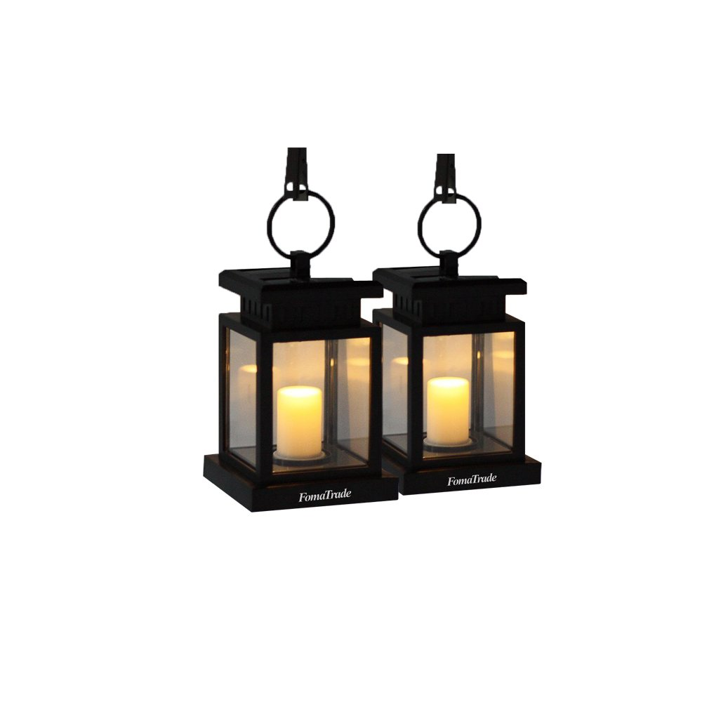 Solar Lights Outdoor,Vintage Waterproof Solar Hanging Umbrella Lantern Led Candle Lights with Clamp for Beach Umbrella Tree Pavilion Garden Yard Lawn Outdoor Camping Hiking Fishing 2 Warm light