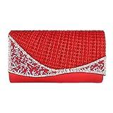 Day of Saturn Women's Irregular Rhinestones Adorn Bling Evening Bag,Red