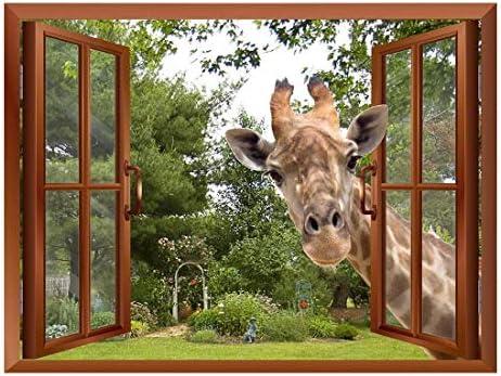A Curious Giraffe Sticking its Head into an Open Window Removable Wall Sticker Wall Mural