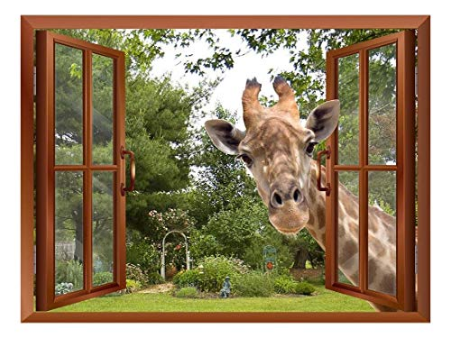 A Curious Giraffe Sticking its Head into an Open Window Removable Wall Sticker Wall Mural