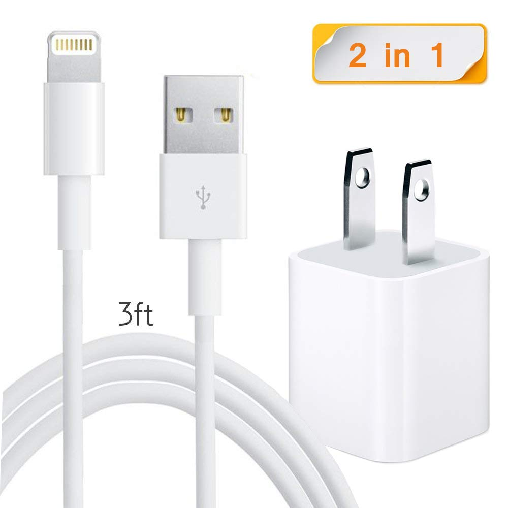iPhone Charger, Charger Adapter + Lightning Cable, iPhone Charger Charging Cable Compatible iPhone X 8 8 Plus 7 7 Plus 6 6S 6 Plus 5S SE iPod iPad Mini Air Pro (White)
