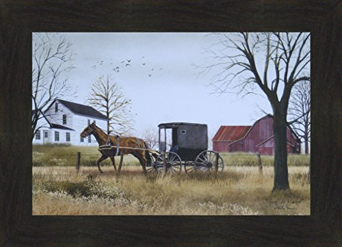 (Goin' To Market by Billy Jacobs 16x22 Amish Horse Buggy Farm Barn Country Primitive Folk Art Framed Print Picture (2
